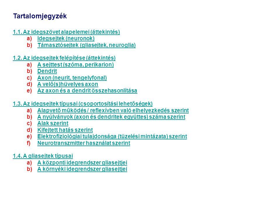 Tartalomjegyzék 1.1. Az idegszövet alapelemei (áttekintés)