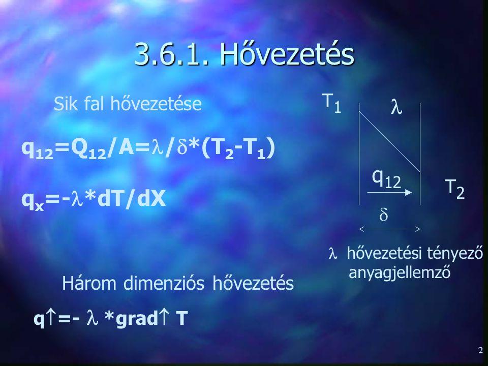 3.6.1. Hővezetés  q12=Q12/A=/*(T2-T1) qx=-*dT/dX q12 T1