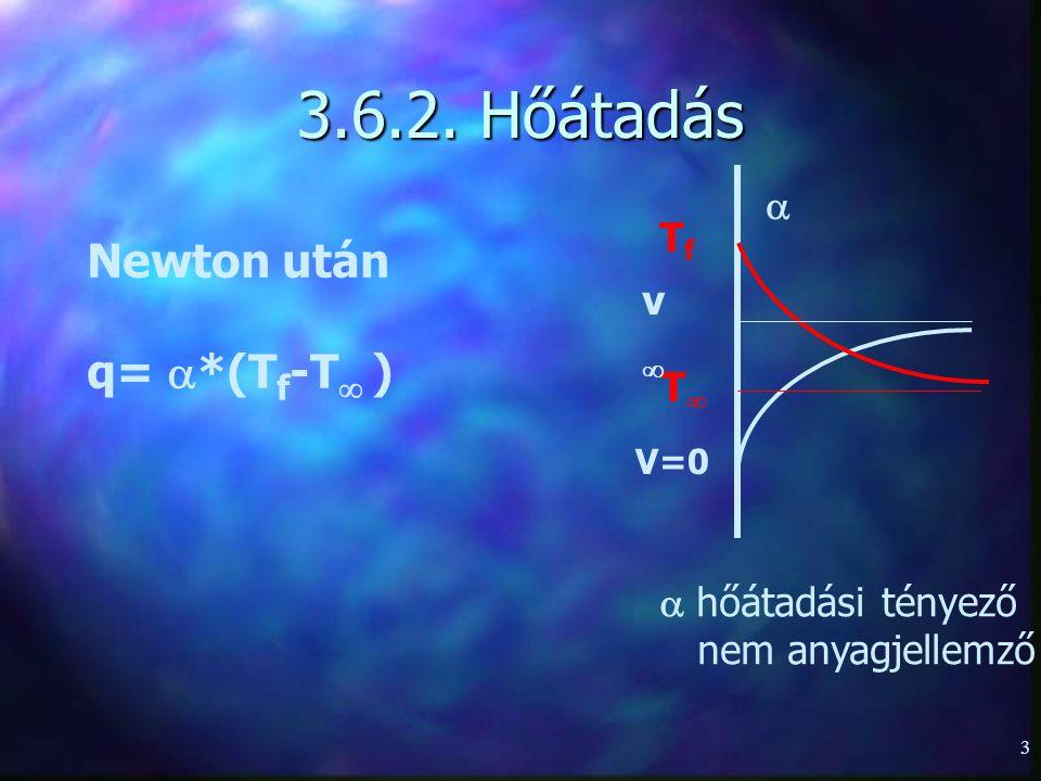 3.6.2. Hőátadás Newton után q= *(Tf-T )  Tf v T