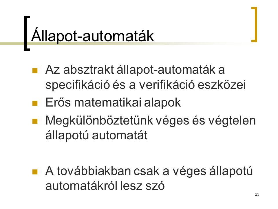 Állapot-automaták Az absztrakt állapot-automaták a specifikáció és a verifikáció eszközei. Erős matematikai alapok.