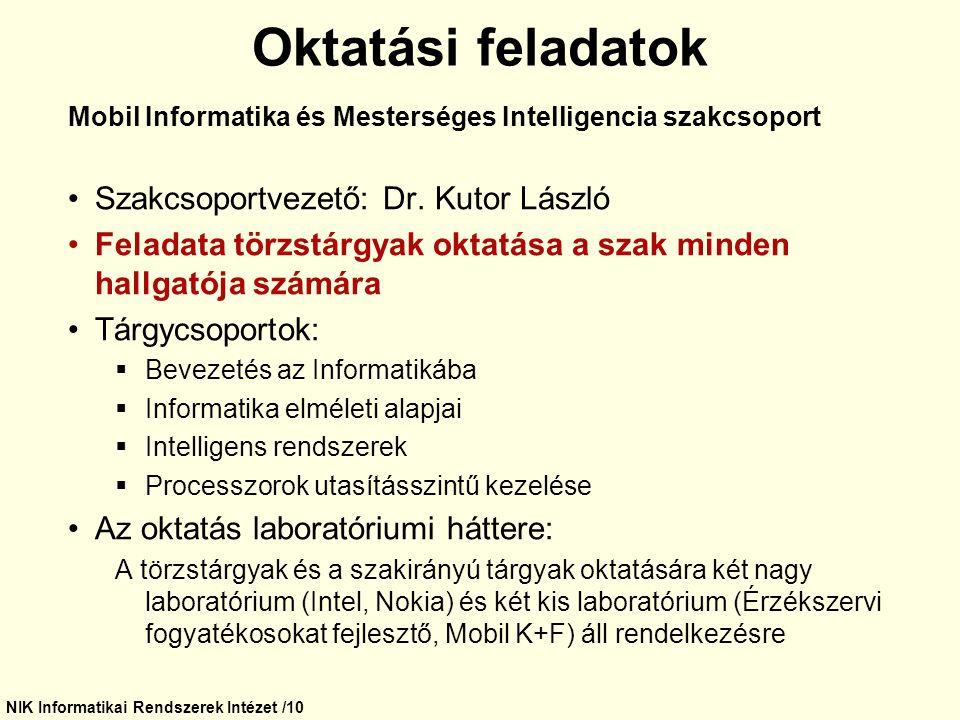 NIK Informatikai Rendszerek Intézet /10