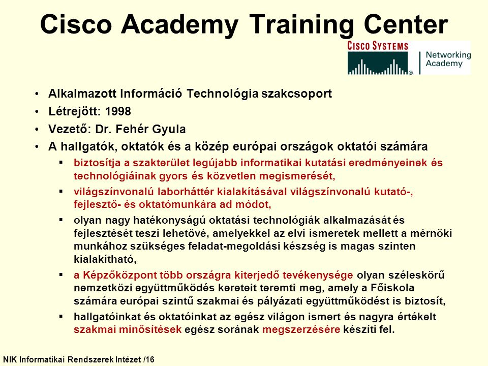 Cisco Academy Training Center