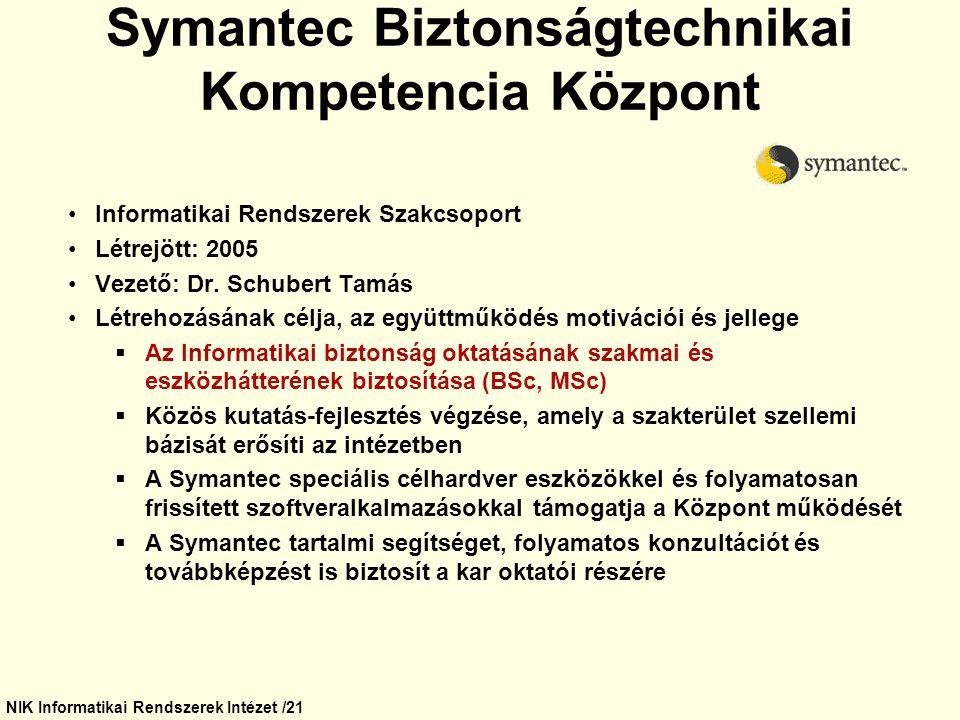 Symantec Biztonságtechnikai Kompetencia Központ