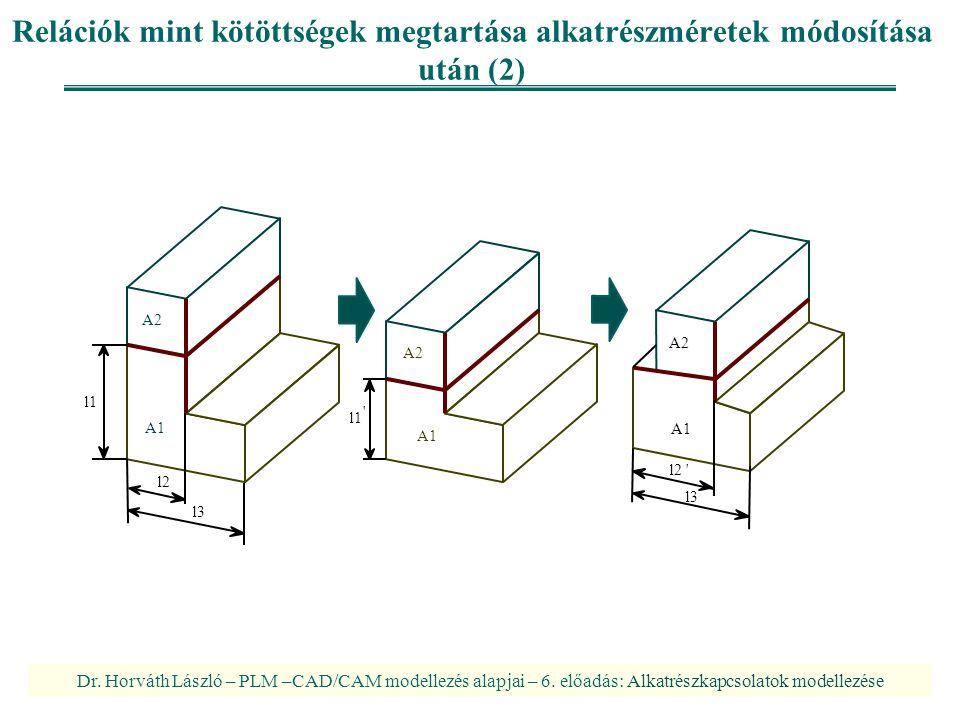 Relációk mint kötöttségek megtartása alkatrészméretek módosítása után (2)