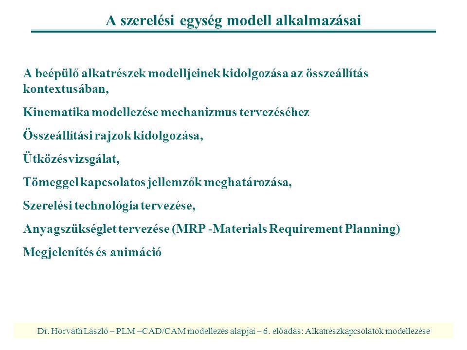 A szerelési egység modell alkalmazásai