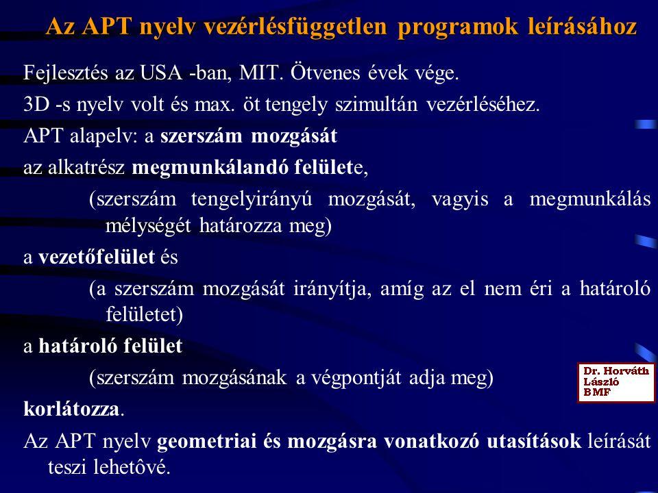 Az APT nyelv vezérlésfüggetlen programok leírásához