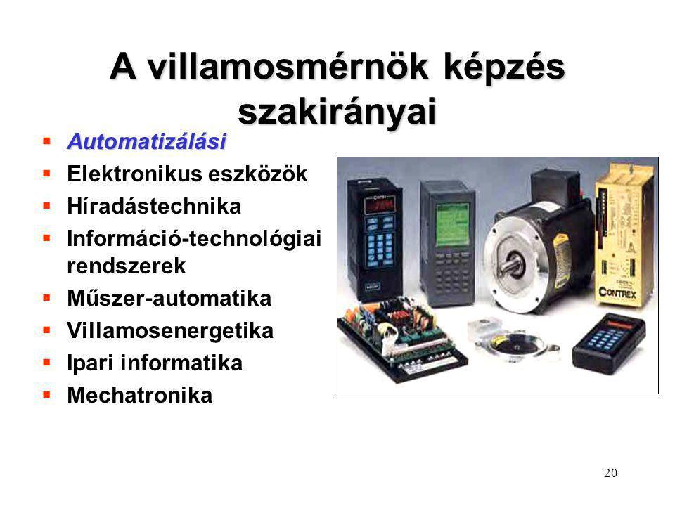 A villamosmérnök képzés szakirányai