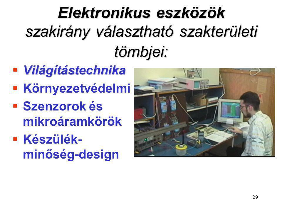 Elektronikus eszközök szakirány választható szakterületi tömbjei: