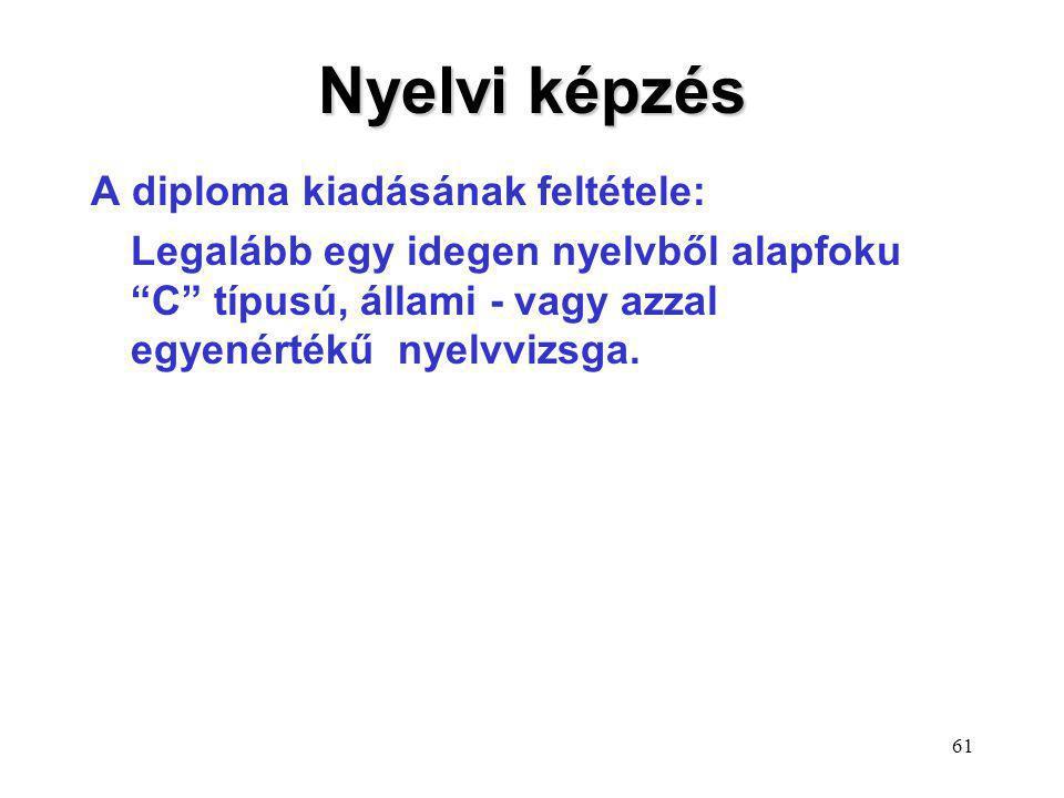 Nyelvi képzés A diploma kiadásának feltétele:
