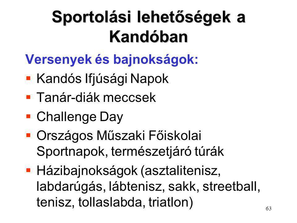Sportolási lehetőségek a Kandóban