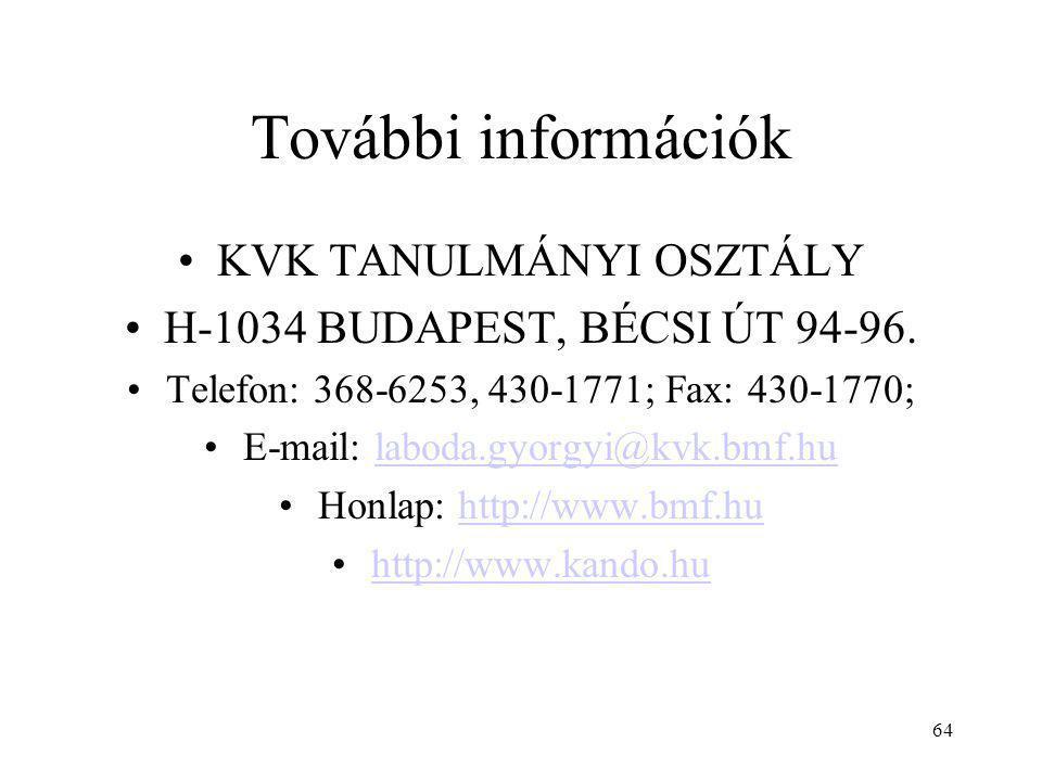 További információk KVK TANULMÁNYI OSZTÁLY