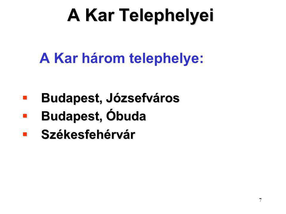 A Kar Telephelyei A Kar három telephelye: Budapest, Józsefváros