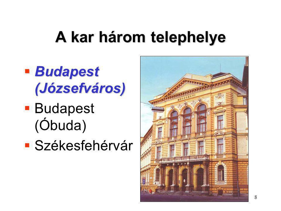 A kar három telephelye Budapest (Józsefváros) Budapest (Óbuda)