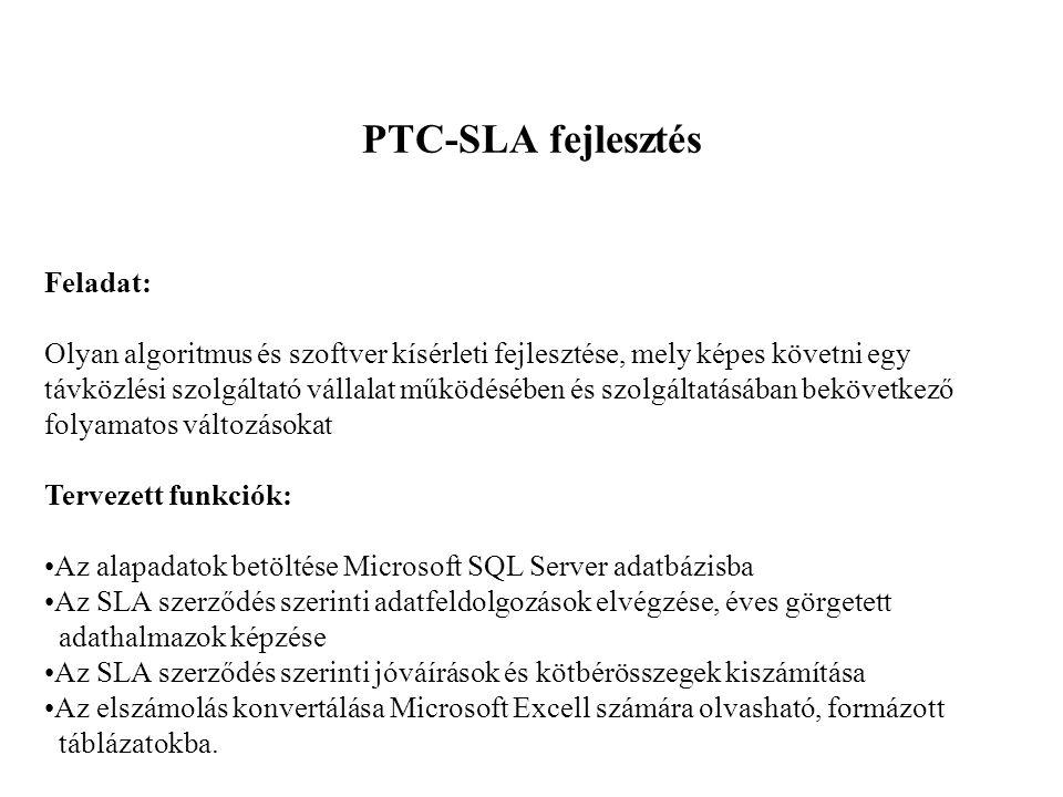 PTC-SLA fejlesztés Feladat: