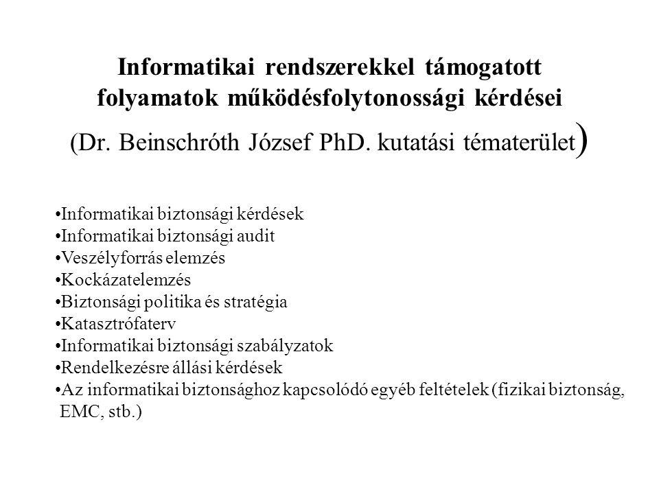 Informatikai rendszerekkel támogatott folyamatok működésfolytonossági kérdései (Dr. Beinschróth József PhD. kutatási tématerület)
