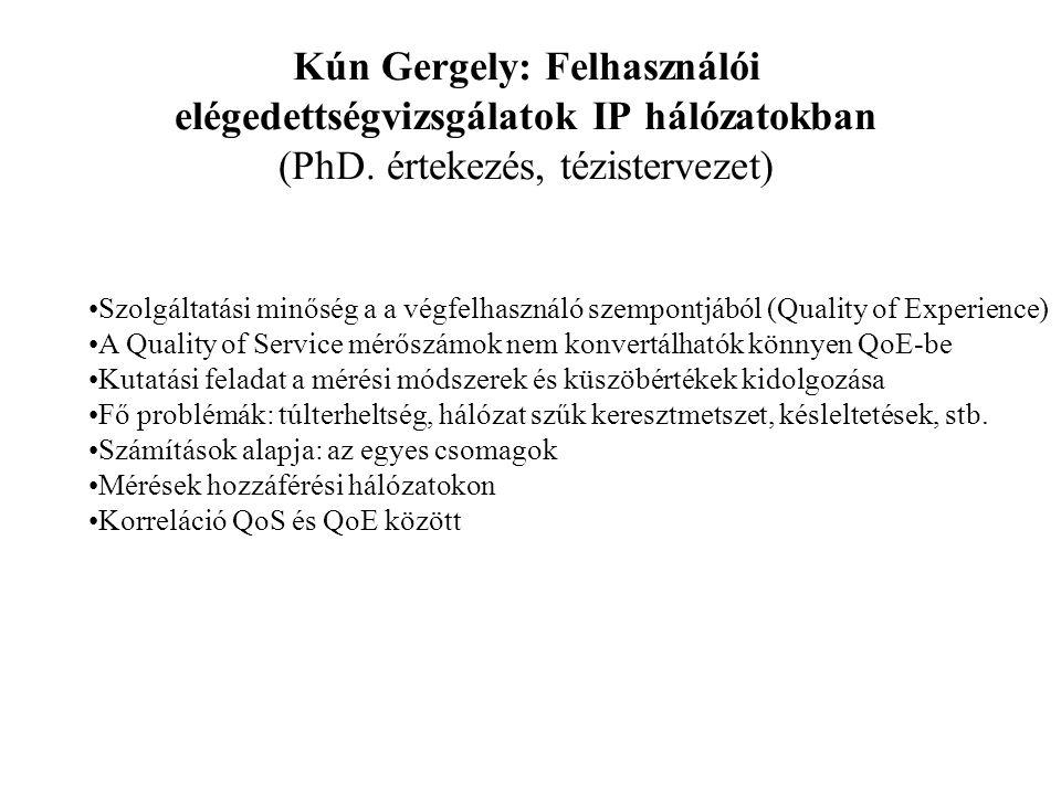 Kún Gergely: Felhasználói elégedettségvizsgálatok IP hálózatokban (PhD