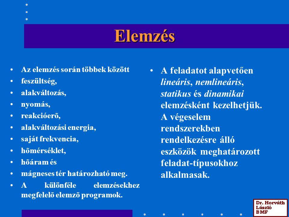 Elemzés Az elemzés során többek között. feszültség, alakváltozás, nyomás, reakcióerõ, alakváltozási energia,