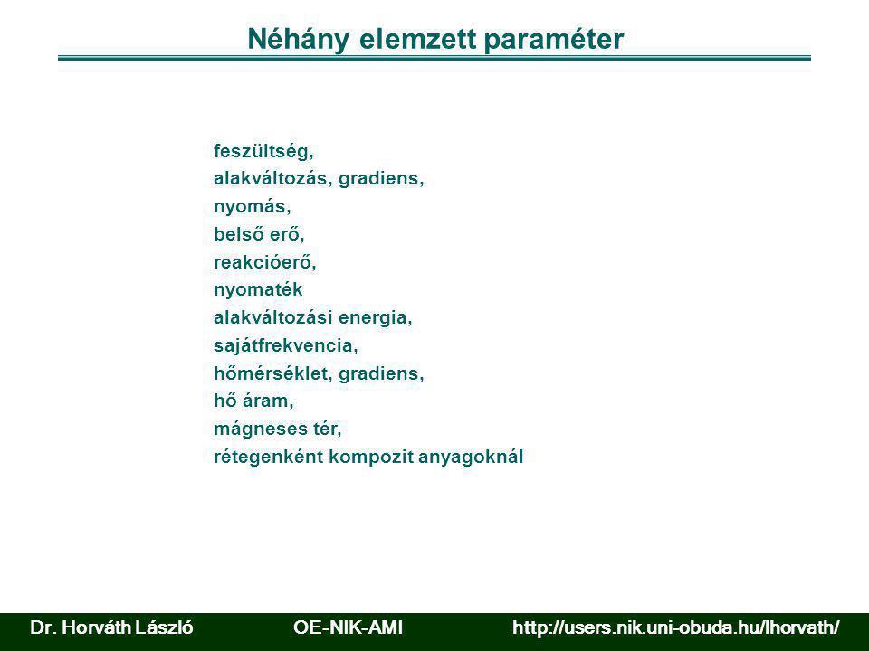 Néhány elemzett paraméter