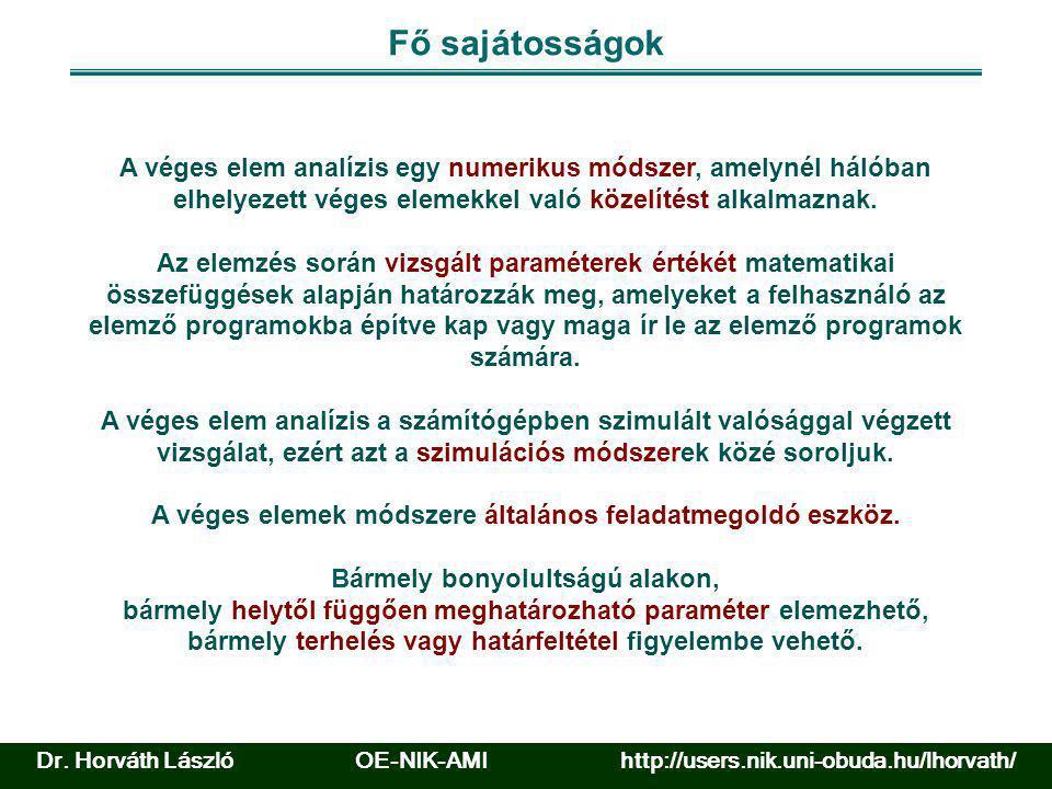 Dr. Horváth László OE-NIK-AMI http://users.nik.uni-obuda.hu/lhorvath/