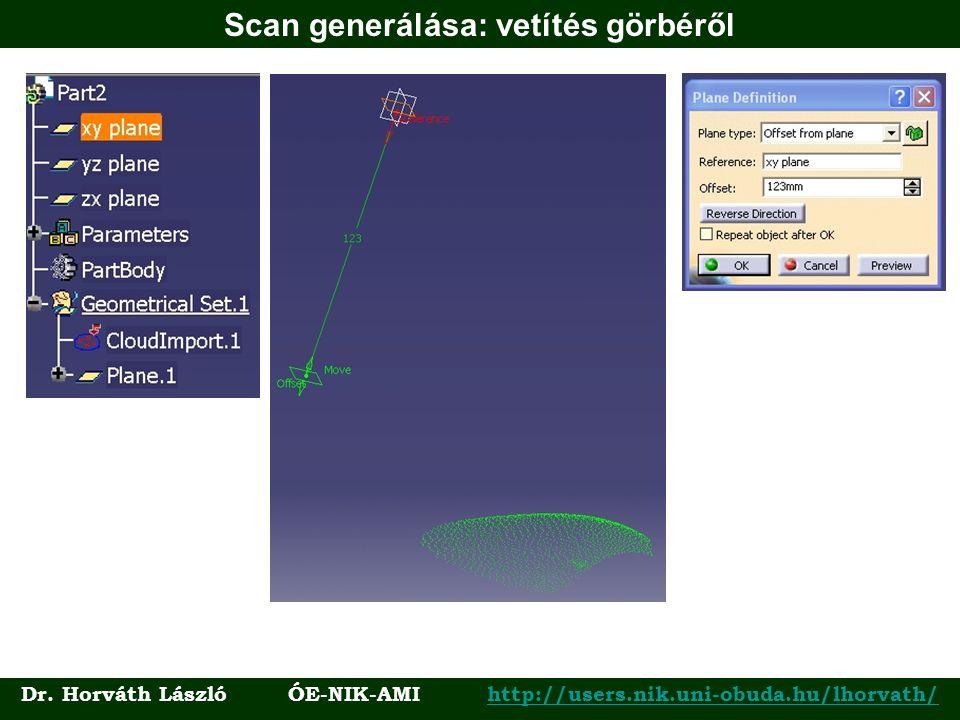 Scan generálása: vetítés görbéről