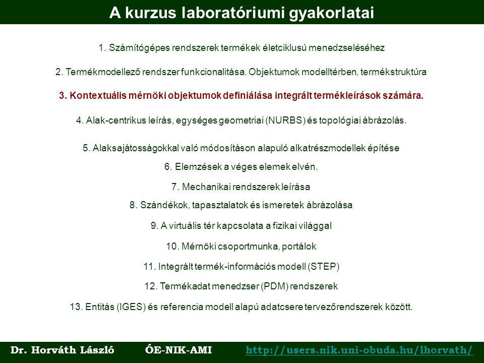 A kurzus laboratóriumi gyakorlatai