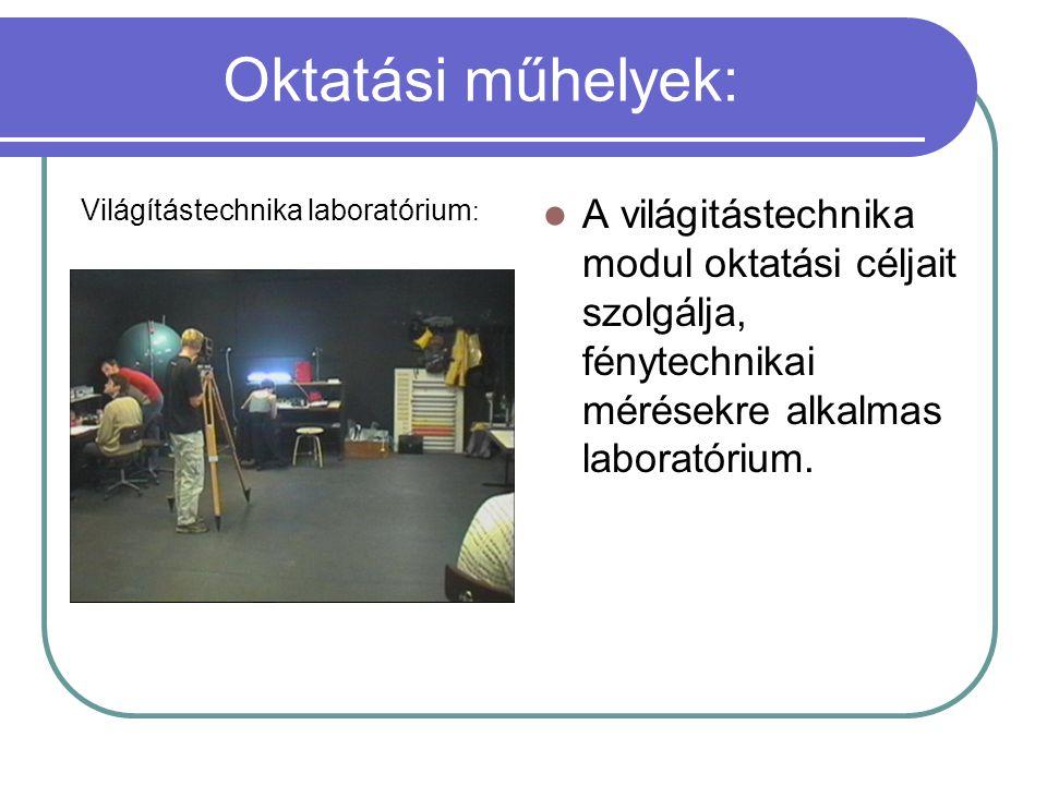 Oktatási műhelyek: Világítástechnika laboratórium: