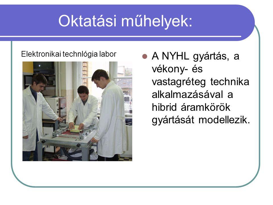 Oktatási műhelyek: Elektronikai technlógia labor.