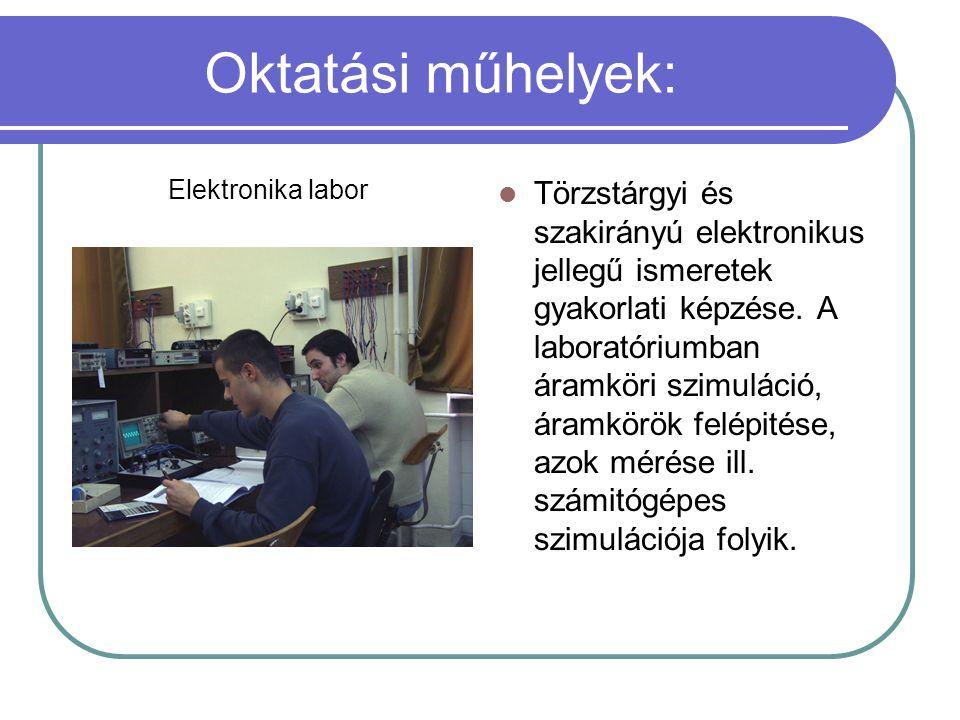 Oktatási műhelyek: Elektronika labor.