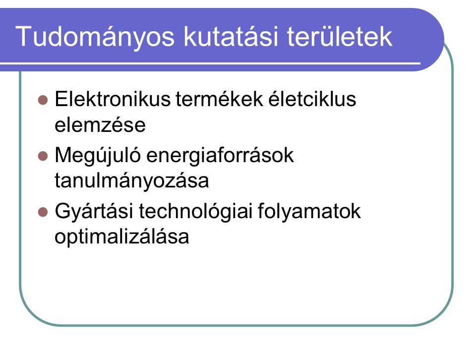 Tudományos kutatási területek