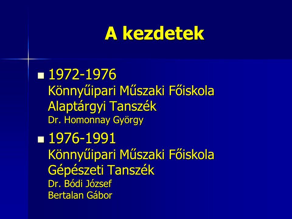 A kezdetek 1972-1976 Könnyűipari Műszaki Főiskola Alaptárgyi Tanszék Dr. Homonnay György.