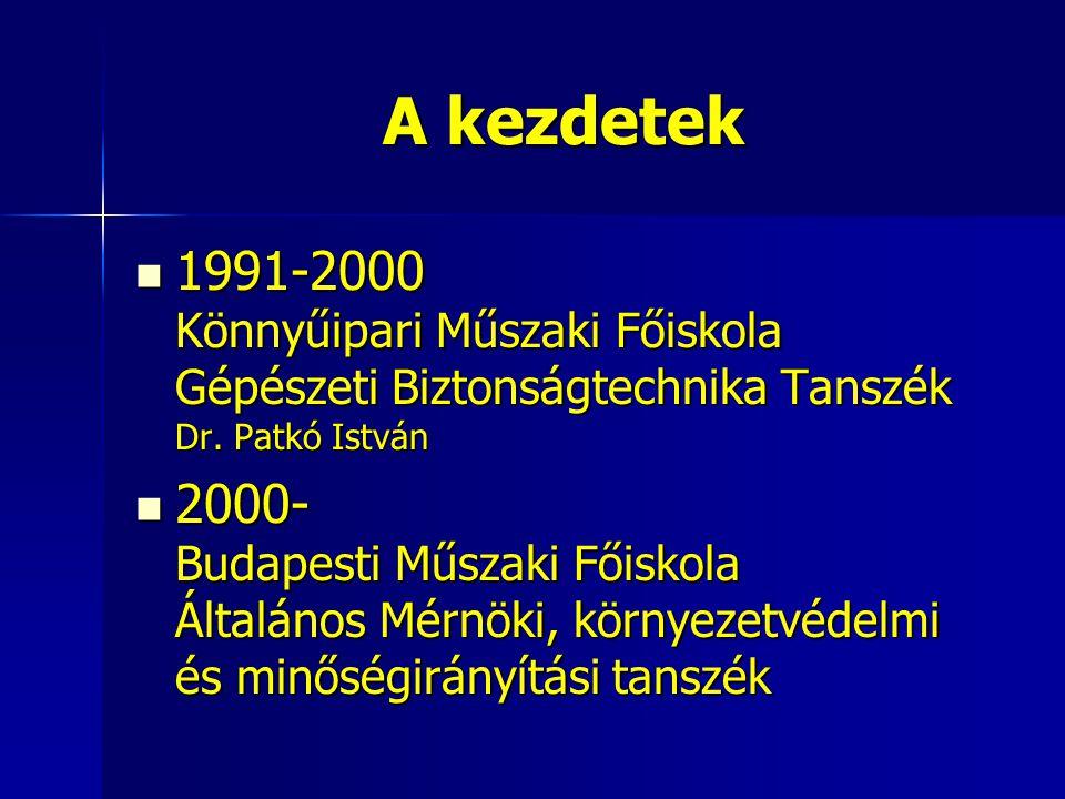 A kezdetek 1991-2000 Könnyűipari Műszaki Főiskola Gépészeti Biztonságtechnika Tanszék Dr. Patkó István.