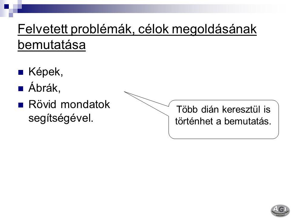 Felvetett problémák, célok megoldásának bemutatása