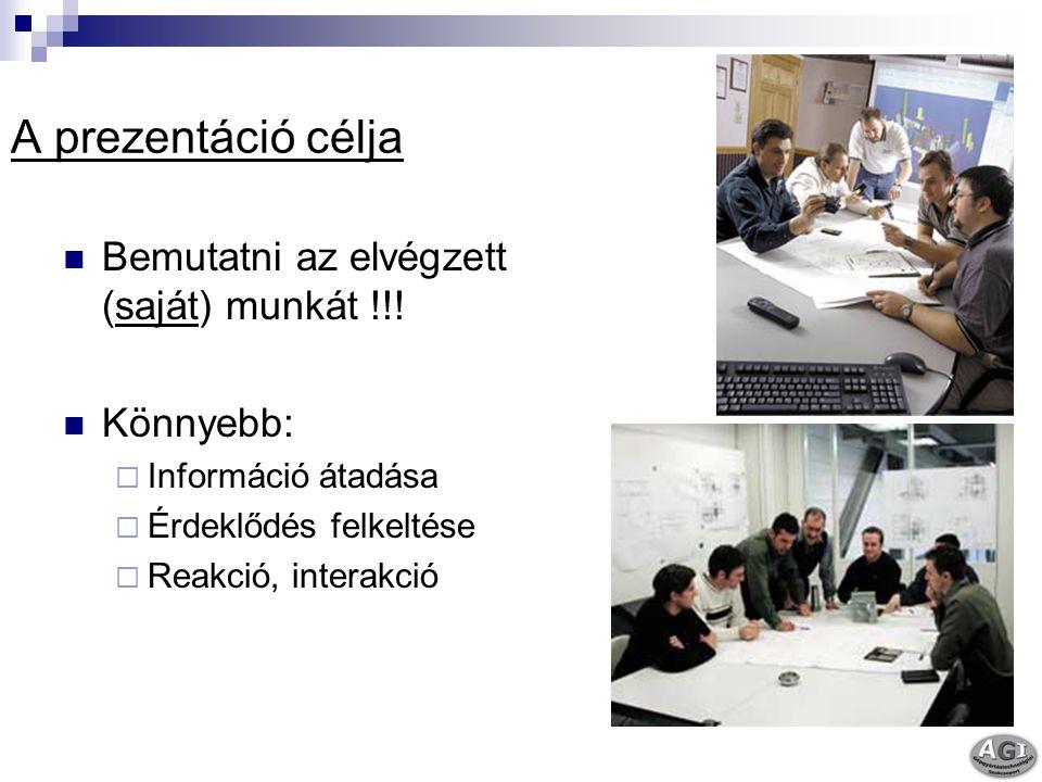A prezentáció célja Bemutatni az elvégzett (saját) munkát !!!