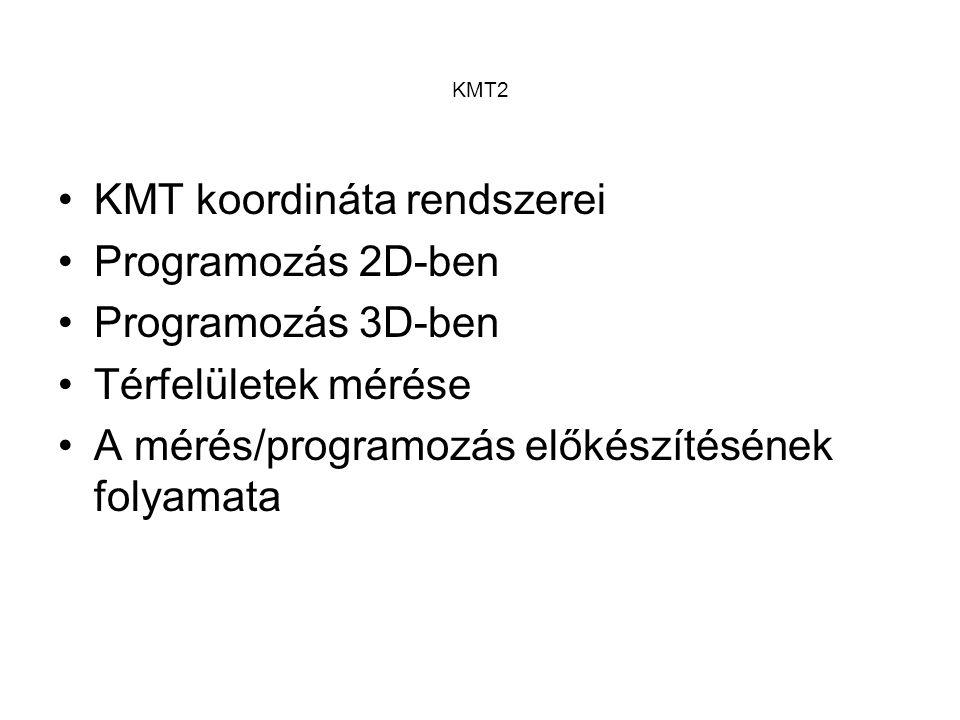 KMT koordináta rendszerei Programozás 2D-ben Programozás 3D-ben