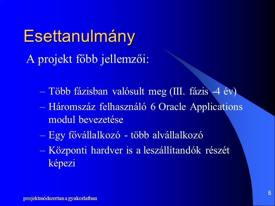 Esettanulmány A projekt főbb jellemzői: