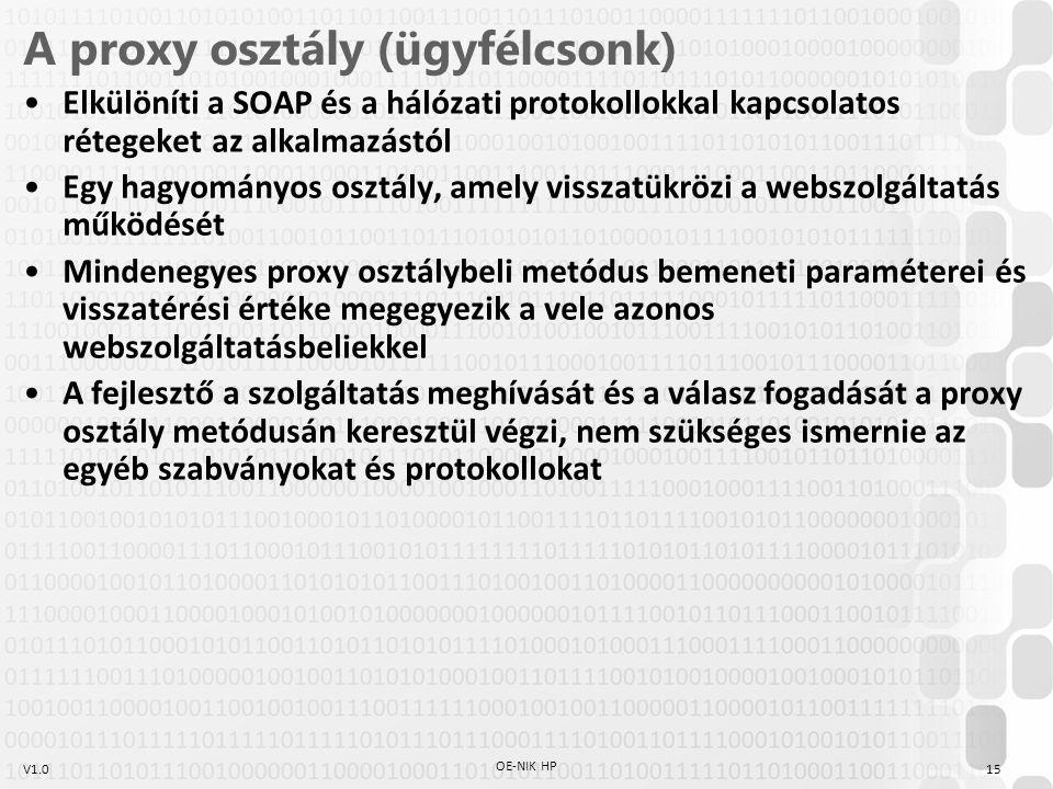 A proxy osztály (ügyfélcsonk)