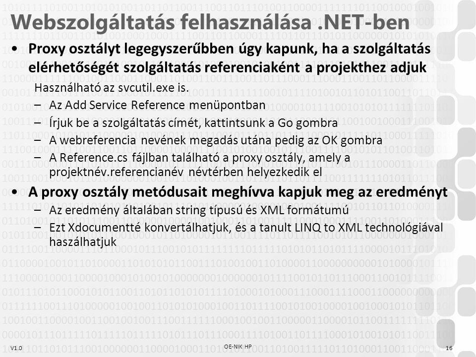 Webszolgáltatás felhasználása .NET-ben