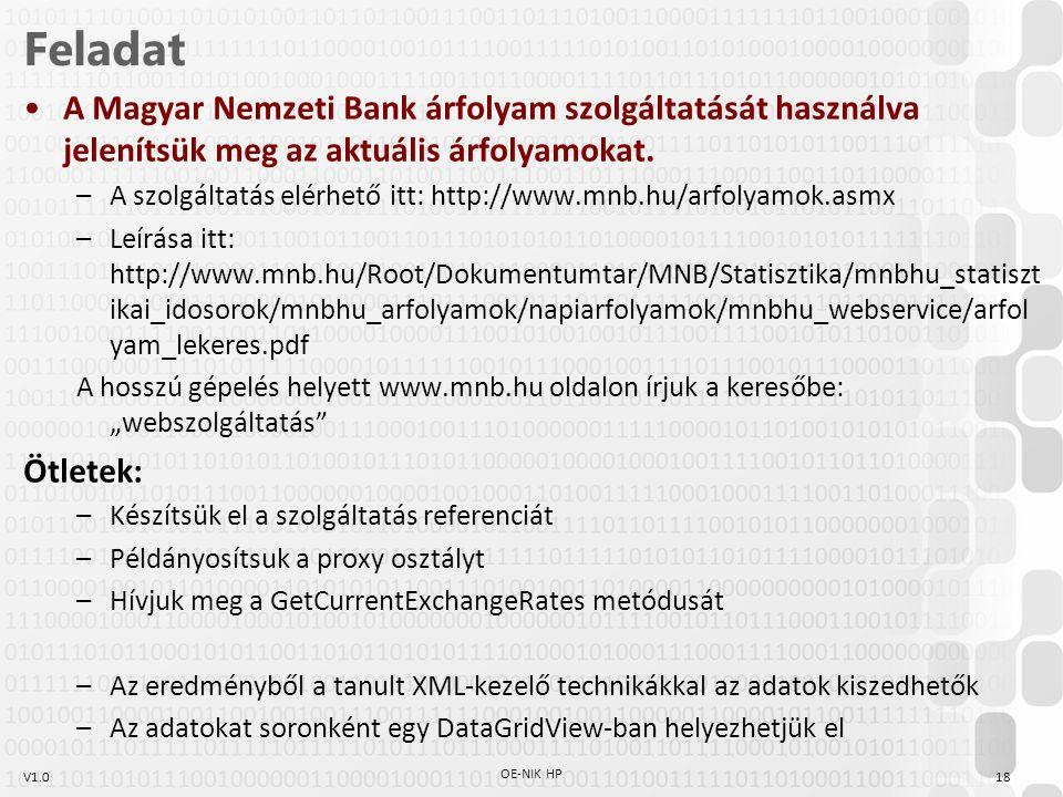 Feladat A Magyar Nemzeti Bank árfolyam szolgáltatását használva jelenítsük meg az aktuális árfolyamokat.