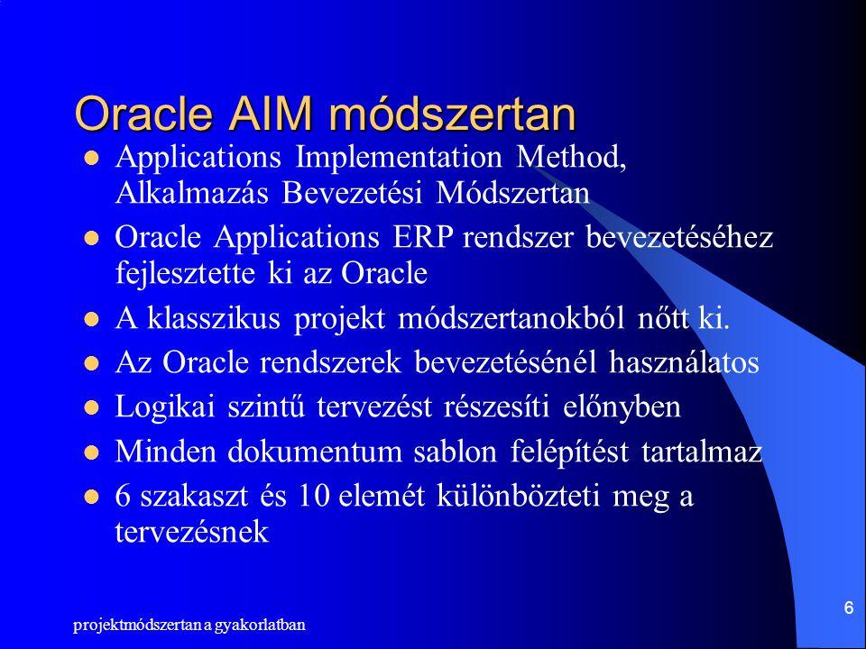 Oracle AIM módszertan Applications Implementation Method, Alkalmazás Bevezetési Módszertan.