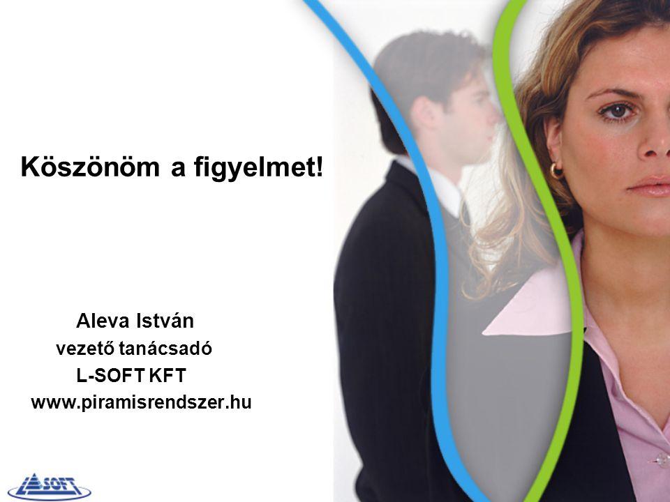 Köszönöm a figyelmet! Aleva István vezető tanácsadó L-SOFT KFT