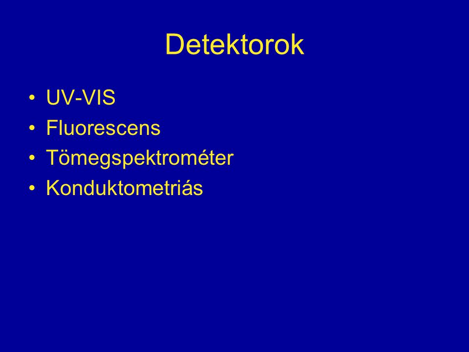 Detektorok UV-VIS Fluorescens Tömegspektrométer Konduktometriás
