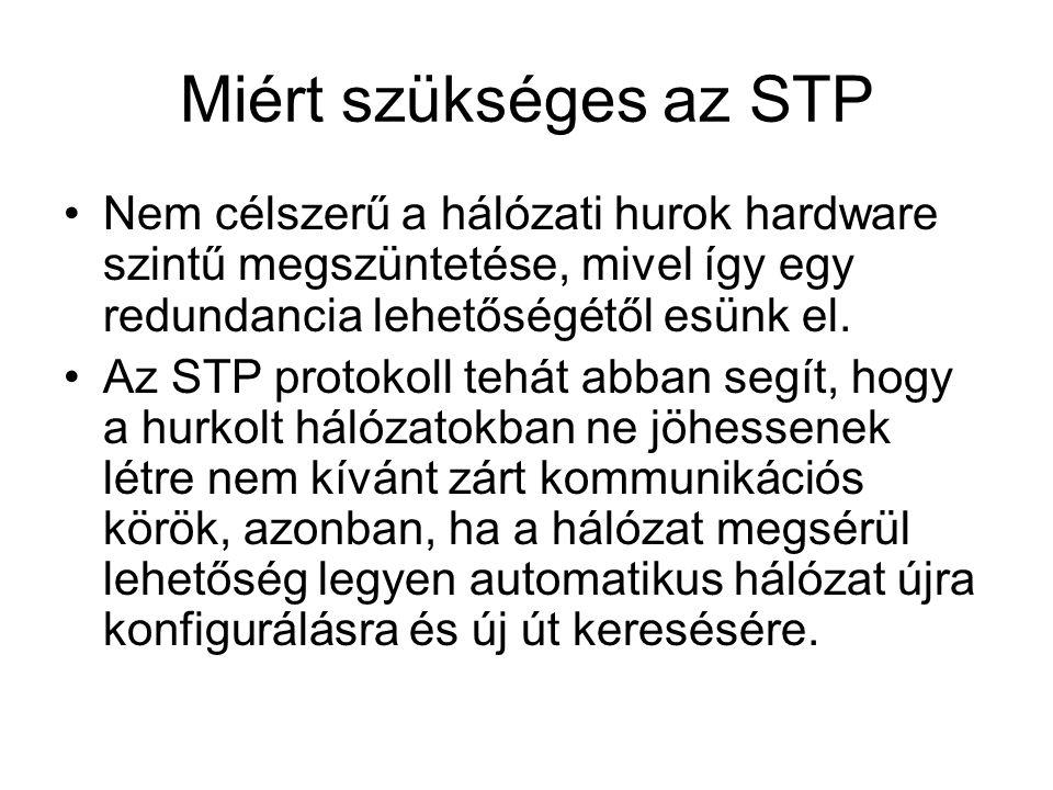 Miért szükséges az STP Nem célszerű a hálózati hurok hardware szintű megszüntetése, mivel így egy redundancia lehetőségétől esünk el.
