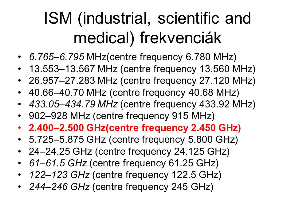 ISM (industrial, scientific and medical) frekvenciák