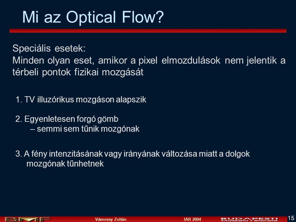 Mi az Optical Flow Speciális esetek: