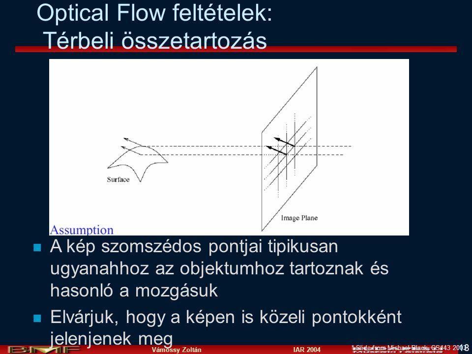 Optical Flow feltételek: Térbeli összetartozás