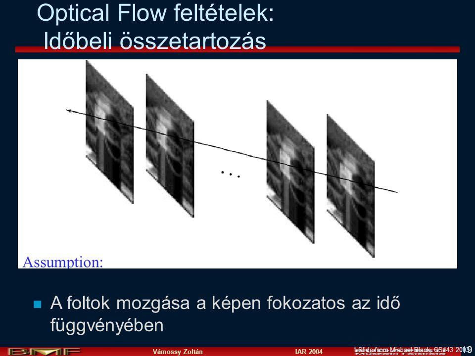 Optical Flow feltételek: Időbeli összetartozás