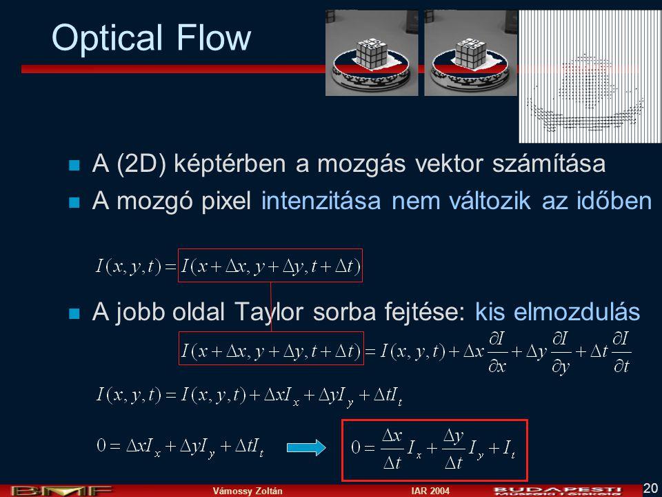 Optical Flow A (2D) képtérben a mozgás vektor számítása