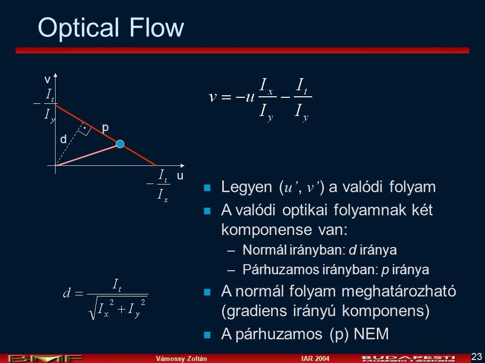 Optical Flow Legyen (u', v') a valódi folyam