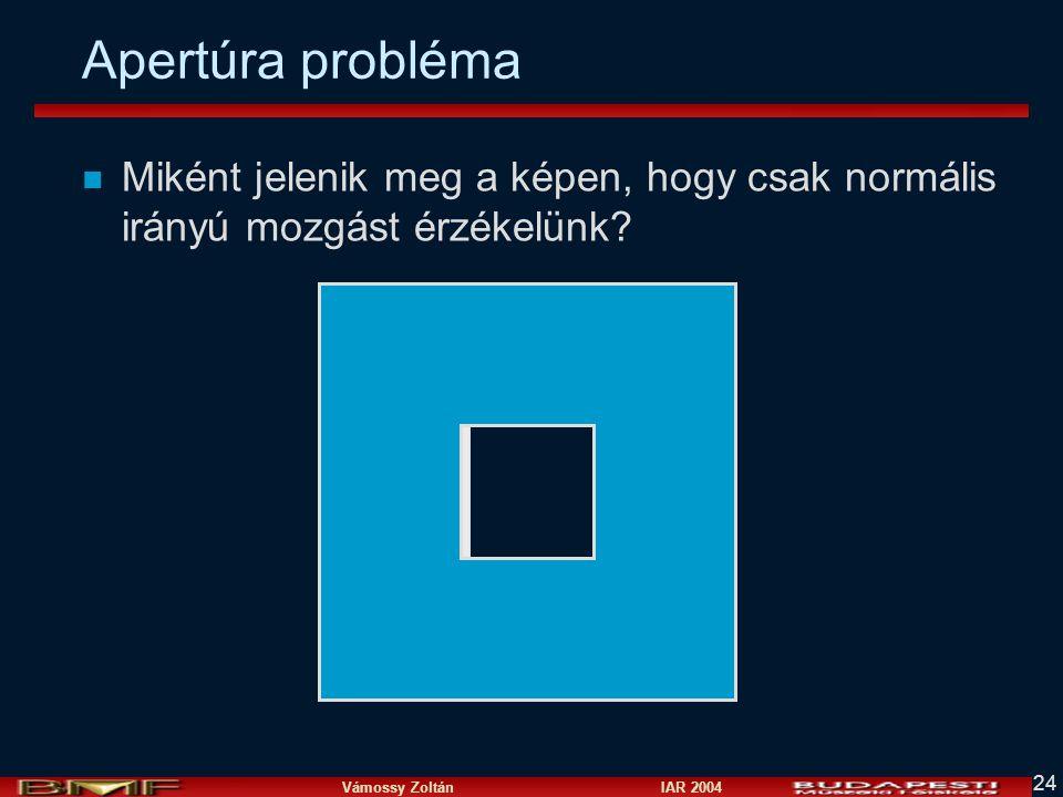 Apertúra probléma Miként jelenik meg a képen, hogy csak normális irányú mozgást érzékelünk