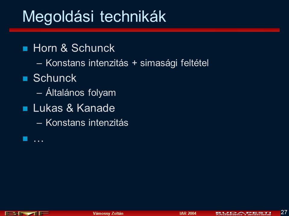 Megoldási technikák Horn & Schunck Schunck Lukas & Kanade …